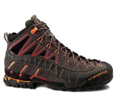La Sportiva Hyper Mid GTX Boot - Men's Black / Red >>> To view further for this item, visit the image link. Winter Hiking Boots, Best Hiking Boots, Hiking Boot Reviews, Backpacking Boots, Hiking Gear, Hiking Fashion, Trail Shoes, Boots Online, Outdoor Outfit