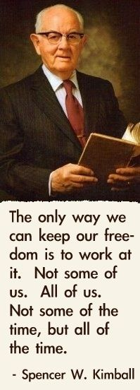 ▪Freedom is worth promoting and defending—whether it is in our homeland that we hold so dear, or in the sacred world of our own hearts and minds; it is worth the fight! ▪Enjoy more from President Kimball http://pinterest.com/pin/24066179230451059