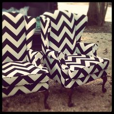 I love chevron. Black and white chevron print wingback chairs. Decoration Inspiration, Design Inspiration, Design Ideas, Decor Ideas, Josie Loves, Boho Home, My New Room, Home Interior, Interior Design