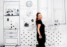 "Freehand Graphic Design Creates Office Interior with Unique Creativity by ""Jo Bird"" aka Caz Swanne Office Interior Design, Interior Walls, Office Interiors, Cool Office, Office Ideas, Office Mural, Design Museum, Interior Accessories, Design Elements"
