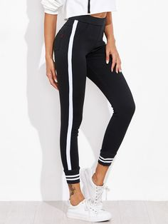 SheIn offers Contrast Striped Sport Leggings Pants & more to fit your fashionable needs. Mesh Yoga Leggings, Sports Leggings, Leggings Are Not Pants, Printed Leggings, Women's Leggings, Leggings Store, Cheap Leggings, Sports Trousers, Women's Pants