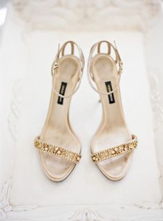 Gold sparkly wedding shoes: http://www.stylemepretty.com/2014/09/18/destination-glam-haiku-mill-wedding-by-bryce-covey-photography/ | Photography: Bryce Covey - http://brycecoveyphotography.com/