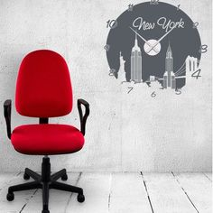 Style and Apply New York Wall Clock Wall Decal Color: Dark Gray