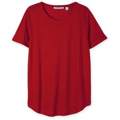 Linen T-Shirt ❤ liked on Polyvore featuring tops, t-shirts, red t shirt, linen tee, red tee, linen t shirt and linen tops