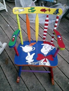 17 Trendy birthday presents for mum dr. Painting Kids Furniture, Funky Painted Furniture, Painting For Kids, Dr Seuss Chairs, Dr Seuss Day, Dr Suess, Birthday Presents For Mum, Hand Painted Chairs, Dr Seuss Birthday Party