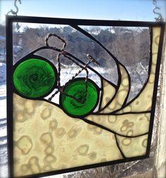 Winter Spray - Stained Glass Bike Art. via Etsy.