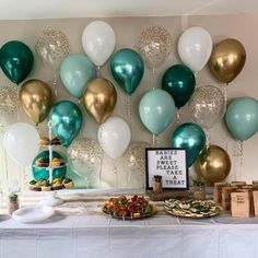 Balloon wall backdrop with gold, green and wood accents. Birthday Wall, Gold Birthday Party, Baby Birthday, Birthday Parties, Birthday Balloon Decorations, Birthday Balloons, Baby Shower Decorations, Baby Party, First Birthdays