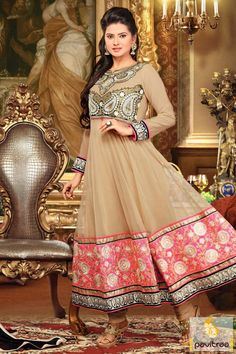 Kratika Sengar Camel or Pink Long Anarkali Dress