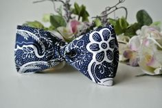 Navy Blue with White Print Bow Tie  Dapper Gentleman's  by ClassA