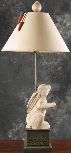 Cute Distressed Rabbit Table/Desk Lamp #Country #ShabbyChic #RabbitLamp #BunnyDecor FREE SHIPPING!