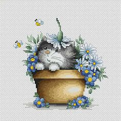 B1048 Gatito en flores €9.99  Kit completo de punto de cruz Marca: Luca-S Hilos: Anchor Tela Aida: Zweigart Colores: 33 Medidas: 16x15.5 cm Aida: 14
