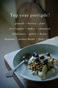 Top your porridge! Fried Apples, Honey And Cinnamon, Peanut Butter Banana, Aga, Granola, Food Styling, Fries, Cereal, Breakfast