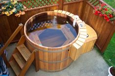 I am still really snobbish about what counts as a 'hot tub'. I am sorry, but if it is made of fiberglass it is called a jacuzzi.or a bathtub. Spa Design, House Design, Design Ideas, Design Styles, Bath Design, Wood Design, Garden Design, Outdoor Projects, Outdoor Decor