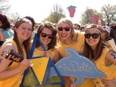 Delta Delta Delta at Mississippi State University #DeltaDeltaDelta #TriDelta #BidDay #dolphin #sorority #MississippiState