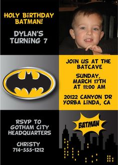 Batman Birthday Party Invitations at Announce It! Find invites ideal for a little boys super hero birthday party Digital files also available. Batman Birthday, Batman Party, Superhero Birthday Party, 3rd Birthday Parties, Birthday Fun, Birthday Ideas, Unicorn Birthday, Batman Invitations, Kids Birthday Party Invitations