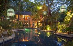 This villa is located in the beach resort town of Hua Hin, about 125 miles south of Bangkok. Designed in the style of a traditional Thai home, its structures are 80% teak.
