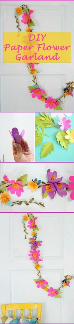 Add bright, colorful decor with this paper flower garland. A great addition for little girls who are growing up and want to have a say in the decor in their room. Not too baby, but still playful and fun! www.ehow.com/...