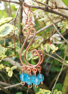 Copper Curved Chandelier Earrings with Blue by TwistedPeacock, $14.00