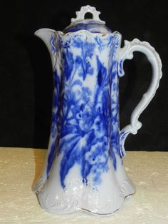 Flow Blue Victorian Chocolate Pot