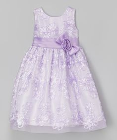 Look at this #zulilyfind! Lilac Floral Tulle Bow Dress - Toddler & Girls by Jayne Copeland #zulilyfinds