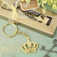 Add a regal touch to your next grand occasion and make your guests feel like kings and queens! This crown charm is made from metal and is plated in a luxurious gold color. It features a cut out crown design with beautiful embossed beading accents that accentuate the detail in the design.