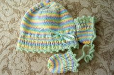 hand knit baby hat and mittens in soft fuzzy greens and yellows   GieseDeseiGns - Knitting on ArtFire