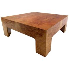Mid-Century Milo Baughman Style Burl Wood Coffee Table | From a unique collection of antique and modern coffee and cocktail tables at https://www.1stdibs.com/furniture/tables/coffee-tables-cocktail-tables/