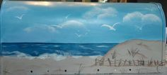 beach scene painted mailbox by ABeautifulGift on Etsy