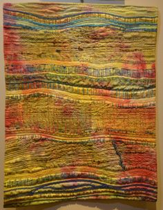 Island Catch Hand dyed cotton, beaded, embellished and hand stitched by Ann Wolterbeek Hawkins