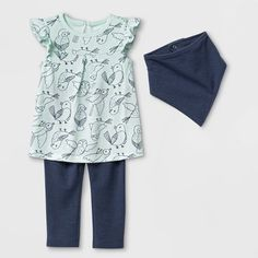 52f7c965 Baby Girls' Bib, Tunic And Leggings Set - Cat & Jack™ Navy Blue. target.com