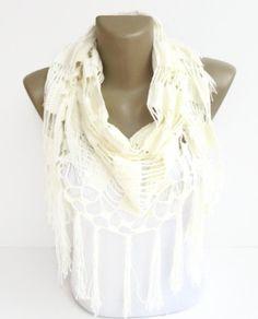 cream women scarf ,knit scarf ,crochet scarf ,cotton mercerized scarf , summer spring fashion scarves on Etsy, $35.00