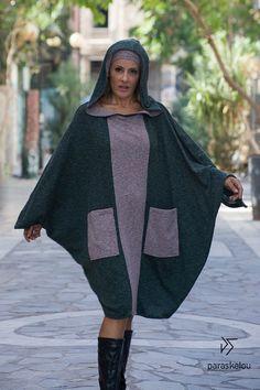 kaftan dress hooded kapuzen slip oversized by paraskeloufashion