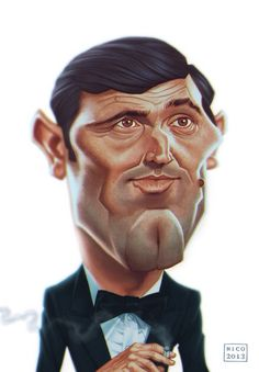 """Caricature of actor George Lazenby in the sixth James Bond movie """"On her Majesty's secret service"""" ( 1969 ). Made for the Wittygraphy contest. March George Lazenby as James Bond Seven Movie, George Lazenby, Bond Series, Funny Caricatures, Celebrity Caricatures, Australian Actors, James Bond Movies, Sean Connery, Actors & Actresses"""