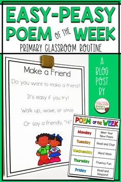 Do you have a poem of the week routine in your classroom? Check out this blog post that tells you a simple weekly routine to follow so you can fit this meaningful literacy activity into your day! Perfect for pre-k, kindergarten, and 1st grade teachers! Full of activities, ideas, and resources for you! You can even grab a free display poem and chart! Kindergarten Morning Work, Kindergarten Literacy, Preschool, Literacy Games, Early Literacy, Classroom Routines, Primary Classroom, Classroom Ideas, Google Classroom