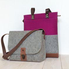FELT TOTE SHOPPER zipper grey and pink leather от WestermanBags