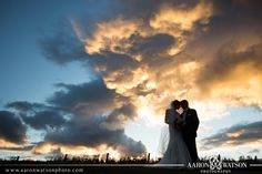 Beautiful Silhouette Picture! We love the fall skies at Early Mountain. What an amazing wedding shot! credit: Aaron Watson Photography