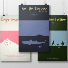 Wes Anderson Set of 3 Posters - The Royal Tenenbaums - Life Aquatic - Darjeeling Limited by RainCityItemShop on Etsy https://www.etsy.com/listing/162803514/wes-anderson-set-of-3-posters-the-royal