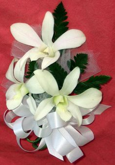 White Orchid Corsage 3 flower
