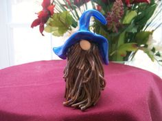 Metallic Blue gnome sculpey polymer clay sculpture OOAK hillbilly mountain man by Aaron Barton