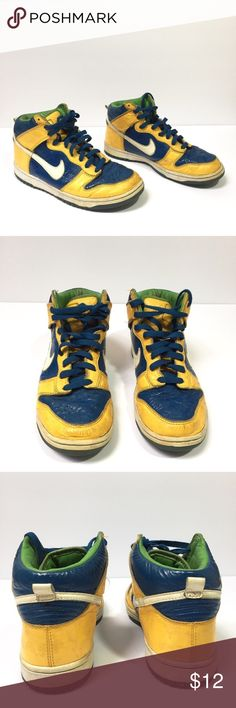 Men's blue and yellow Nike high tops - Size: men's 7 - Condition: used - Color: yellow, blue, green, white - Style: high tops - Extra notes: Nike Shoes Sneakers