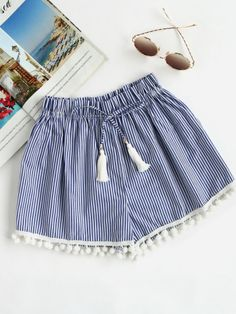 Shop Vertical Striped Drawstring Waist Pompom Hem Shorts at ROMWE, discover more fashion styles online. Short Outfits, Summer Outfits, Girl Outfits, Casual Outfits, Summer Dresses, Girls Fashion Clothes, Girl Fashion, Fashion Outfits, Clothes For Women