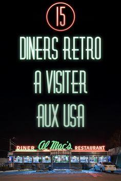 15 diners retro à visiter aux Etats-Unis... Si vous recherchez un restaurant traditionnel américain lors de votre prochain voyage, découvrez ma sélection des meilleurs diners américains dans cet article : http://www.passionamerique.com/15-diner-retro-usa/ Repin si vous aimez !