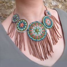 CHEPI Ethnic Tribal Native American Cotton yarn Fiber Fringe Howlite Mint Orange Teal Brown Olive green. €55.00, via Etsy.