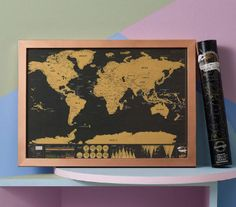 Framed Scratch Map Deluxe Déco Pinterest Clutter And House - Framed world scratch map