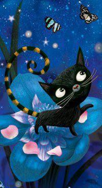 Cute little black cat with butterflies painting. negrinho