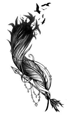 tatouage plume et oiseaux qui s'envolent