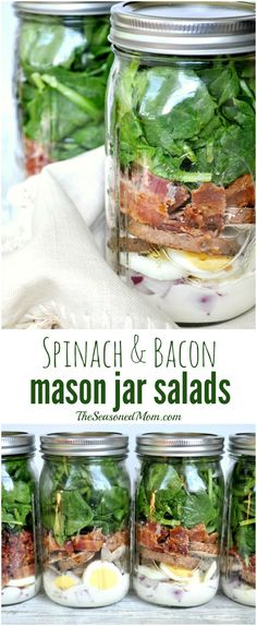 Spinach and Bacon Mason Jar Salads -- everything stays fresh until you need it! Just dump, mix, and EAT! #ad