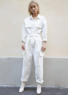 White Patch Pocket Utility Jumpsuit – The Frankie Shop All White Outfit, White Outfits, Designer Jumpsuits, Boiler Suit, White Jumpsuit, Comme Des Garcons, Warm Outfits, Fashion Line, My Style