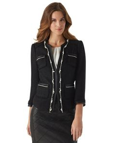 Gorgeous black jacket with pearl bead accents. Stylish and Classic Elegance