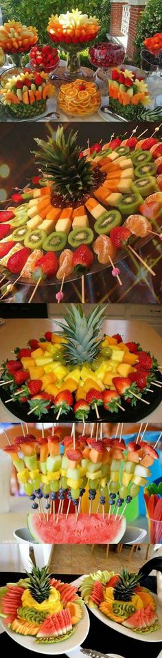 decoração com frutas - Frutti Decorati Party Food Platters, Party Trays, Party Snacks, Appetizers For Party, Fruits Decoration, Table Decorations, Fruit Buffet, Fruit Creations, Creative Food Art